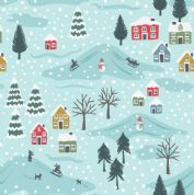 Lewis & Irene - Snow Day - 5960 - Snowy Scene on Pale Blue, Pearlescent - C34.2 - Cotton Fabric